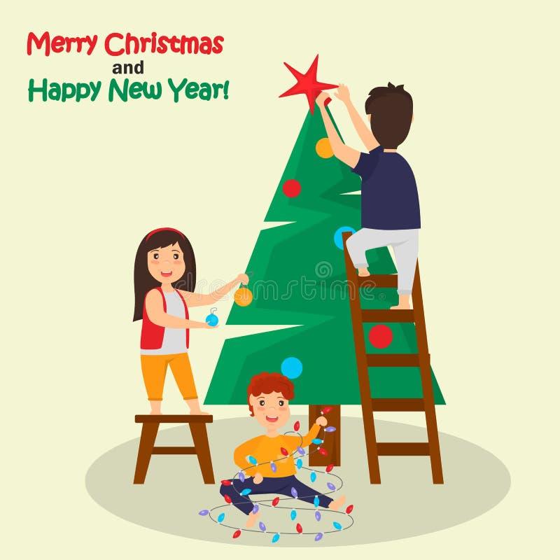 Τα παιδιά διακοσμούν την έγχρωμη εικονογράφηση χριστουγεννιάτικων δέντρων απεικόνιση αποθεμάτων