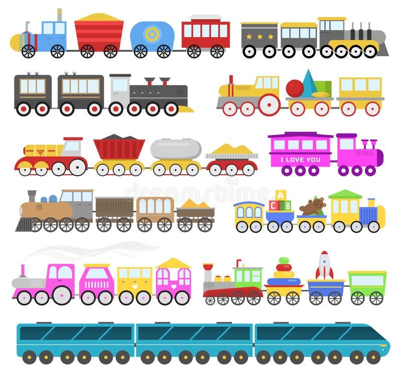 Τα παιδιά εκπαιδεύουν το διανυσματικό παιχνίδι σιδηροδρόμου μωρών κινούμενων σχεδίων ή το παιχνίδι σιδηροδρόμων με κινητήριο ταλα ελεύθερη απεικόνιση δικαιώματος