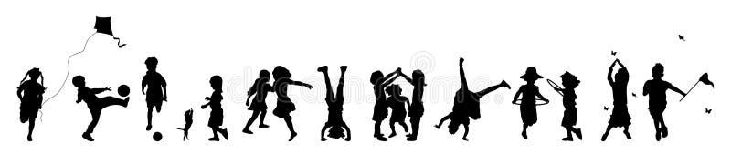 τα παιδιά εμβλημάτων παίζουν το s διανυσματική απεικόνιση