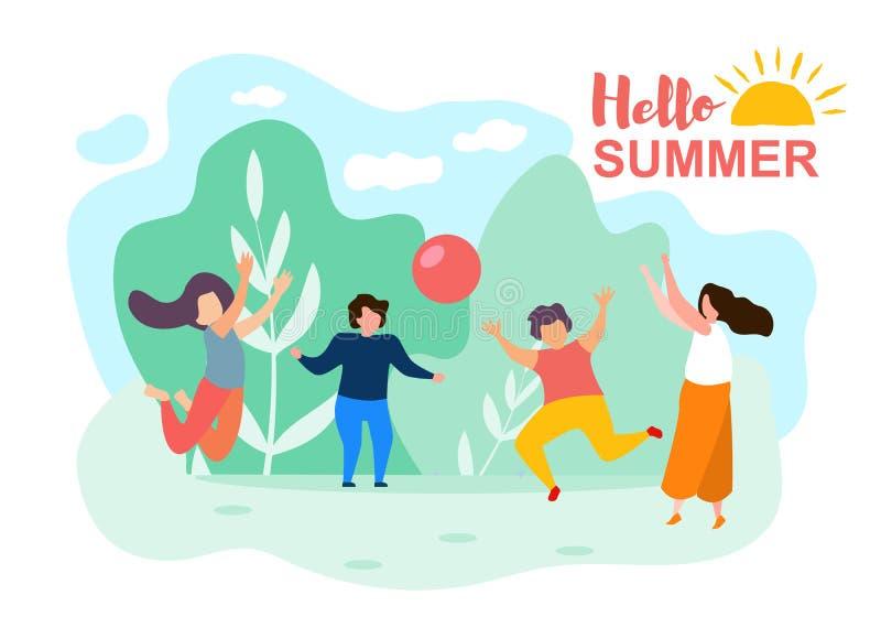 Τα παιδιά κινούμενων σχεδίων παίζουν το ηλιόλουστο πάρκο θερινής ημέρας σφαιρών ελεύθερη απεικόνιση δικαιώματος