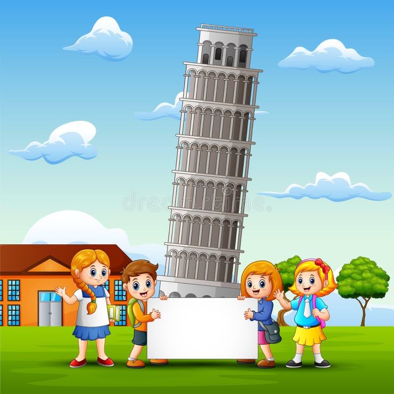 Τα παιδιά κινούμενων σχεδίων φέρνουν ένα whiteboard μπροστά από το υπόβαθρο πύργων της Πίζας διανυσματική απεικόνιση