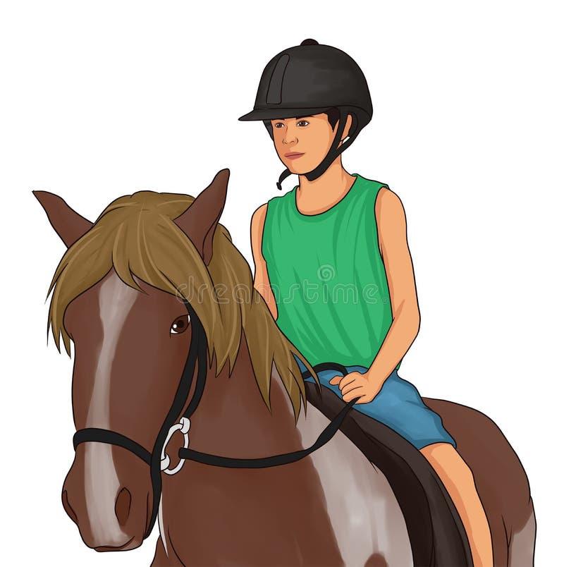 Τα παιδιά οδήγησαν στα καφετιά άλογα στοκ φωτογραφία με δικαίωμα ελεύθερης χρήσης