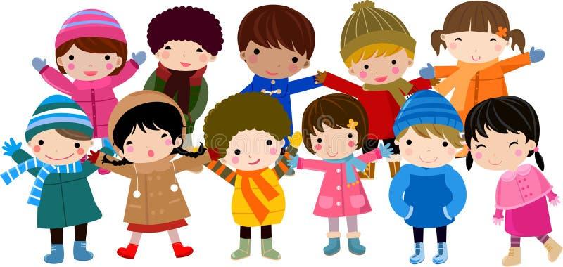 τα παιδιά ομαδοποιούν ε&upsil διανυσματική απεικόνιση