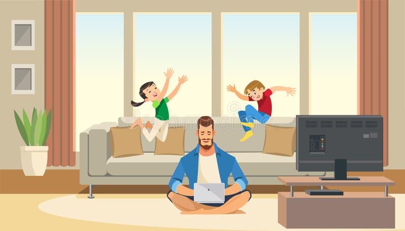 Τα παιδιά παίζουν και πηδούν πίσω από τον εργαζόμενο επιχειρησιακό πατέρα Ισορροπία ζωής εργασίας με τους χαρακτήρες κινουμένων σ διανυσματική απεικόνιση