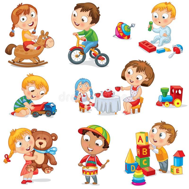 Τα παιδιά παίζουν με τα παιχνίδια απεικόνιση αποθεμάτων