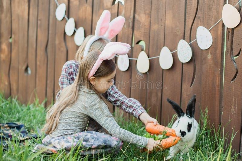 Τα παιδιά παίζουν με το πραγματικό κουνέλι Γελώντας παιδί στο κυνήγι αυγών Πάσχας με το άσπρο λαγουδάκι κατοικίδιων ζώων Λίγο κορ στοκ φωτογραφία