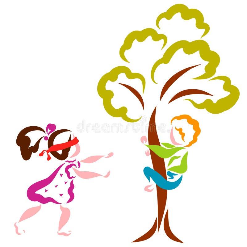 Τα παιδιά παίζουν τη δορά - και - επιδιώκουν, παιχνίδι διασκέδασης, ένα αγόρι κρύβουν σε ένα δέντρο, ένα κορίτσι ψάχνει διανυσματική απεικόνιση