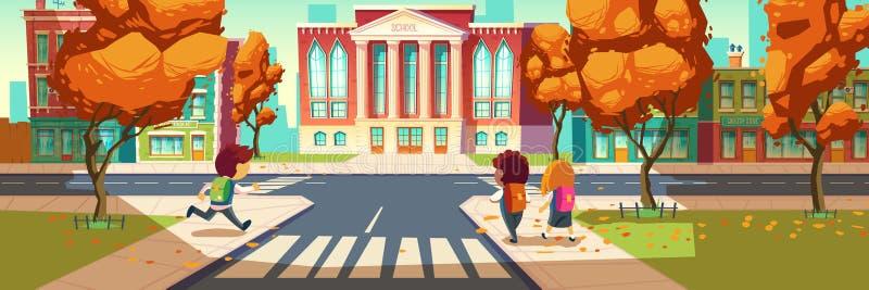 Τα παιδιά πηγαίνουν στο σχολείο, τους μικρούς σπουδαστές, τα αγόρια και το κορίτσι ελεύθερη απεικόνιση δικαιώματος