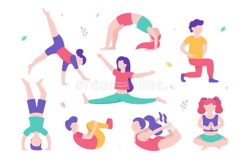 Τα παιδιά που κάνουν το φυσικό σύνολο ασκήσεων διάφορου θέτουν και χαριτωμένοι χαρακτήρες κινουμένων σχεδίων των παιδιών στο άσπρ διανυσματική απεικόνιση