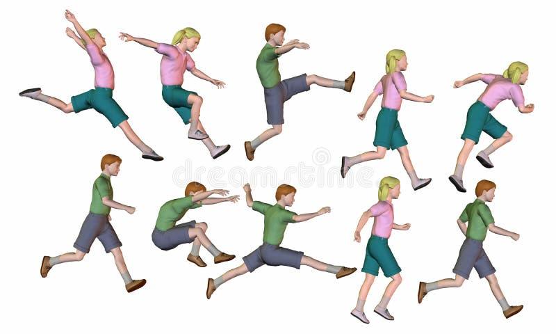 τα παιδιά που πηδούν δίνουν το τρέξιμο απεικόνιση αποθεμάτων