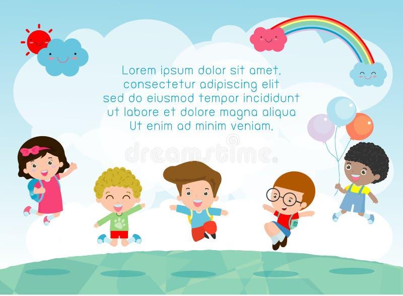 Τα παιδιά που πηδούν στην παιδική χαρά, παιδιά πηδούν με τη χαρά, ευτυχές παιχνίδι παιδιών κινούμενων σχεδίων στο υπόβαθρο διανυσματική απεικόνιση