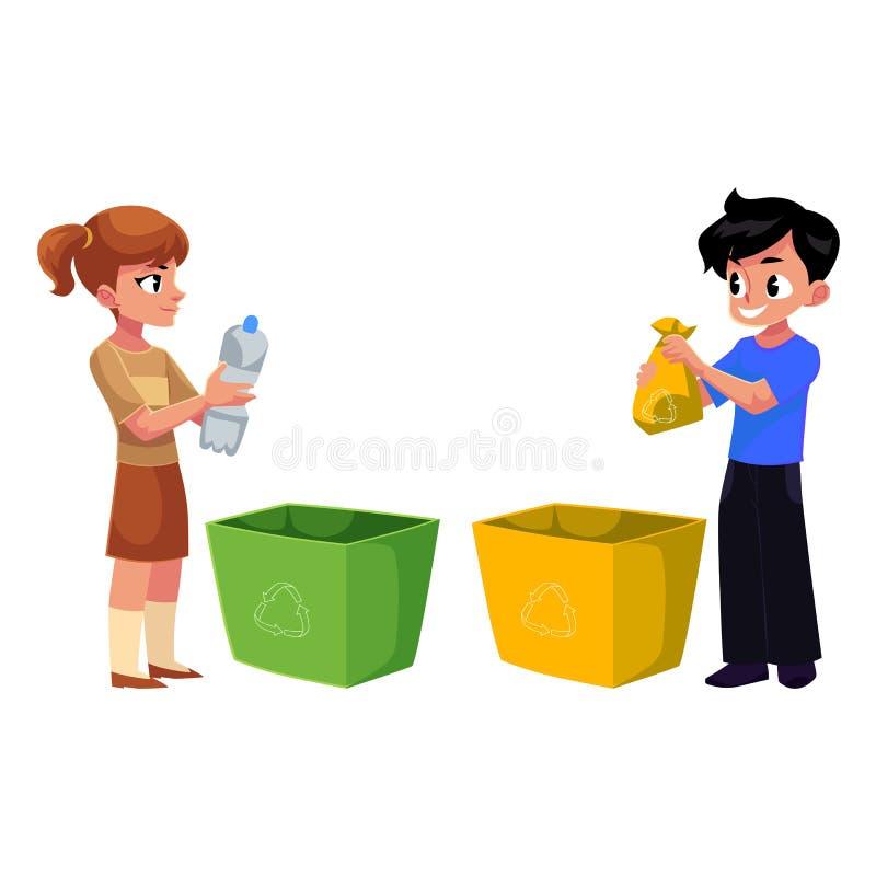 Τα παιδιά, παιδιά ρίχνουν τα πλαστικά μπουκάλια στα απορρίμματα, έννοια ανακύκλωσης απορριμάτων ελεύθερη απεικόνιση δικαιώματος
