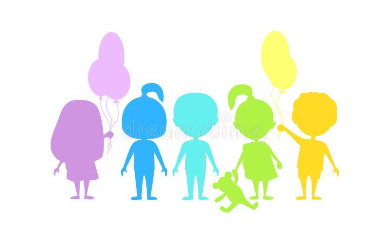 τα παιδιά χρωμάτισαν τις σκιαγραφίες διανυσματική απεικόνιση