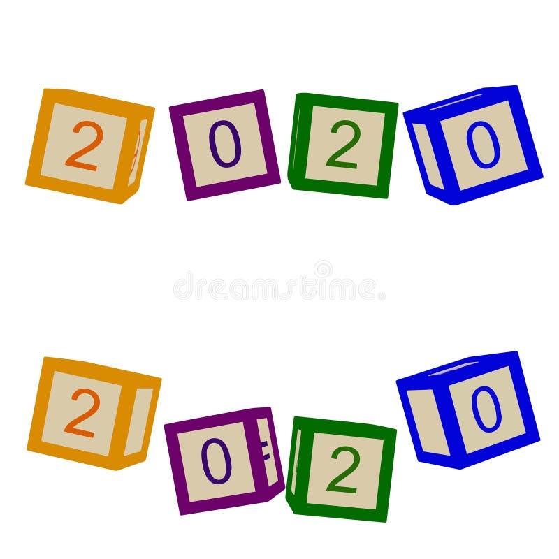 Τα παιδιά χρωματίζουν τους κύβους με τις επιστολές έτος του 2020 διανυσματική απεικόνιση