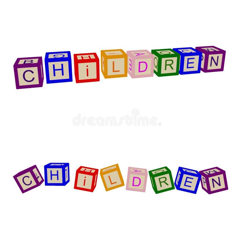 Τα παιδιά χρωματίζουν τους κύβους με τις επιστολές Παιδιά διάνυσμα απεικόνιση αποθεμάτων