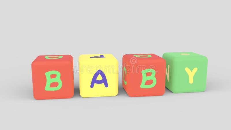 Τα παιδιά χρωματίζουν τους κύβους με τις επιστολές Θάλαμος μωρών Rastor διανυσματική απεικόνιση