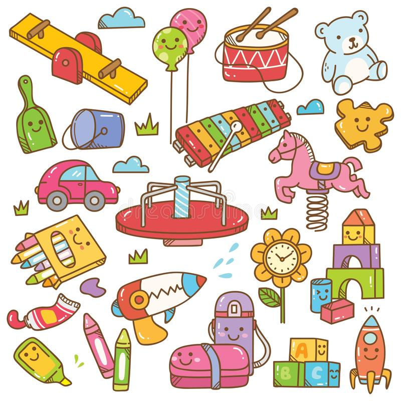 Τα παιχνίδια και ο εξοπλισμός παιδικών σταθμών doodle θέτουν ελεύθερη απεικόνιση δικαιώματος