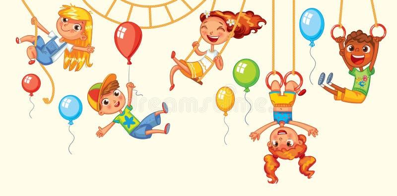 Τα παιδιά έχουν τη διασκέδαση στους γύρους διανυσματική ρόδα πάρκων νύχτας ferris διασκέδασης playground ελεύθερη απεικόνιση δικαιώματος