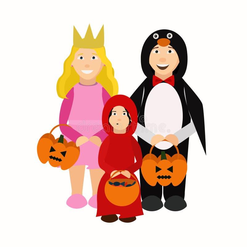 Τα παιδιά αποκριών με το τέχνασμα ή μεταχειρίζονται την τσάντα απεικόνιση αποθεμάτων