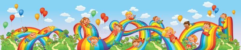 Τα παιδιά γλιστρούν κάτω σε ένα ουράνιο τόξο. Γύρος ρόλερ κόστερ απεικόνιση αποθεμάτων