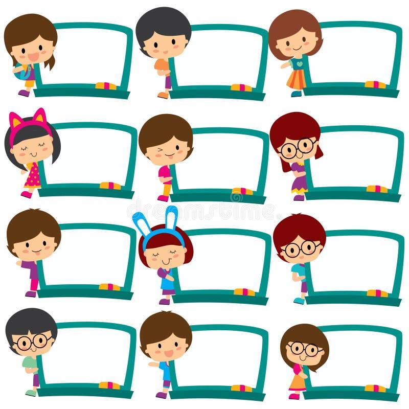 Τα παιδιά επιβιβάζονται στο σύνολο τέχνης συνδετήρων πλαισίων διανυσματική απεικόνιση