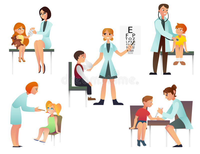 Τα παιδιά επισκέπτονται μια επίπεδη διανυσματική απεικόνιση κινούμενων σχεδίων γιατρών Ο παιδίατρος και εξετάζει έναν ασθενή Στην στοκ φωτογραφία με δικαίωμα ελεύθερης χρήσης