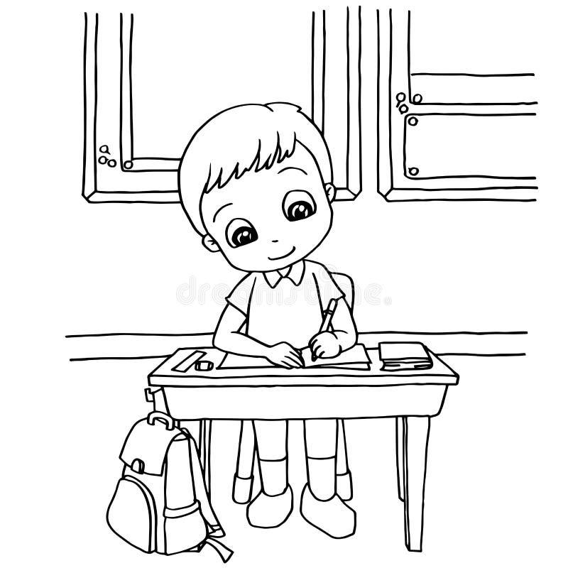 Τα παιδιά κάνουν την εργασία στο διάνυσμα σελίδων χρωματισμού κινούμενων σχεδίων κατηγορίας απεικόνιση αποθεμάτων