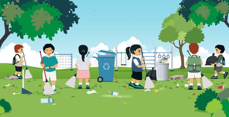Τα παιδιά καθαρίζουν ελεύθερη απεικόνιση δικαιώματος