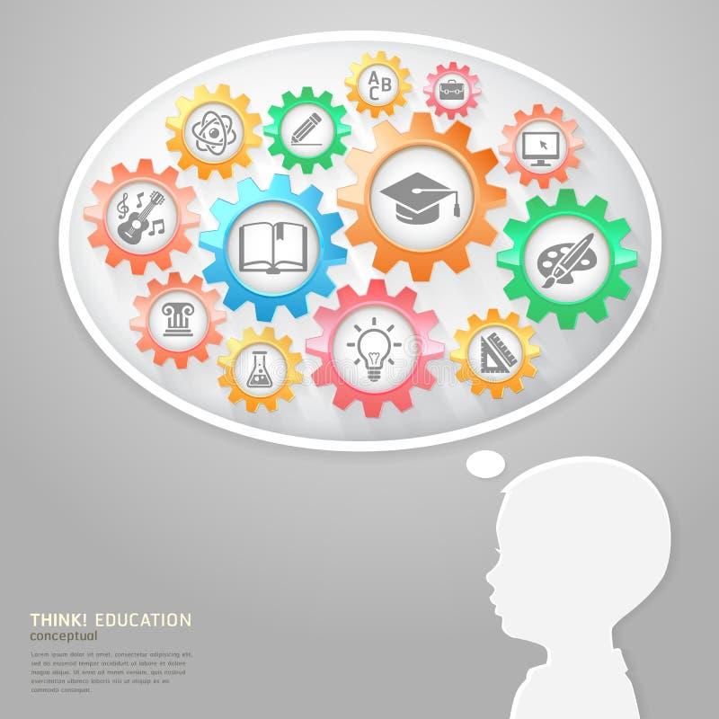 Τα παιδιά και η φυσαλίδα σκέφτονται με τα εικονίδια εκπαίδευσης. διανυσματική απεικόνιση