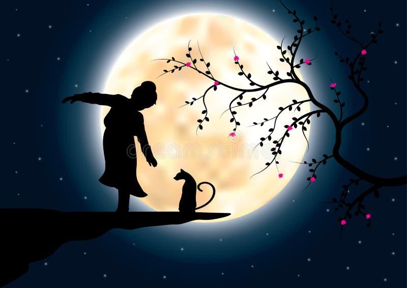 Τα παιδιά παίζουν σε έναν απότομο βράχο με μια γάτα, διανυσματικές απεικονίσεις στοκ εικόνα με δικαίωμα ελεύθερης χρήσης
