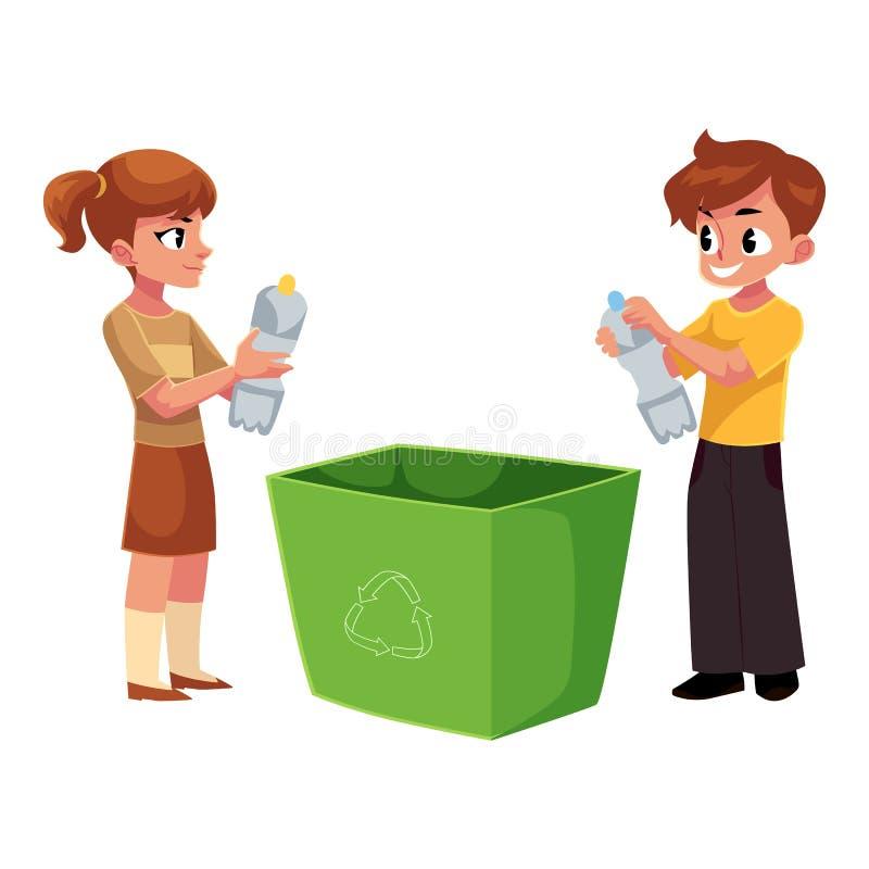 Τα παιδιά, παιδιά ρίχνουν τα πλαστικά μπουκάλια στα απορρίμματα, έννοια ανακύκλωσης απορριμάτων διανυσματική απεικόνιση