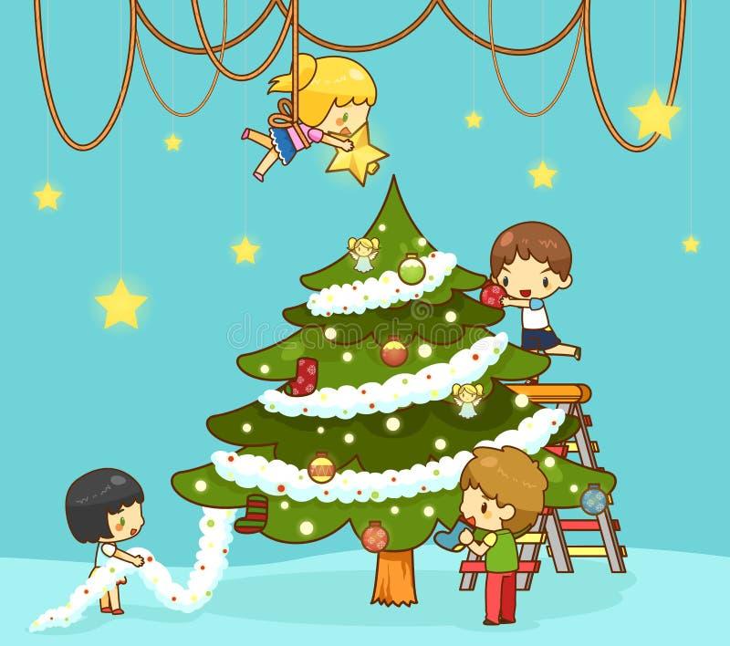 Τα παιδιά παιδιών με τους φίλους αγοριών και κοριτσιών διακοσμούν το γίγαντα chr ελεύθερη απεικόνιση δικαιώματος