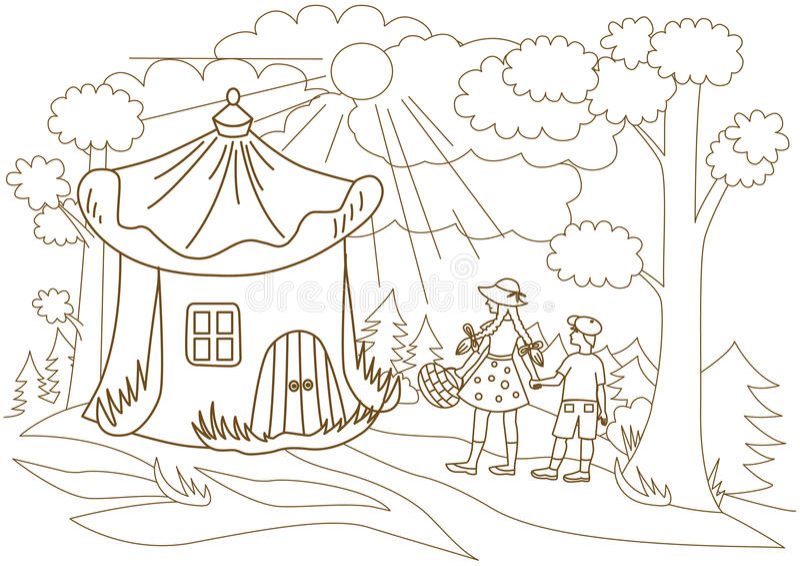 Τα παιδιά περνούν από το μυθικό δάσος απεικόνιση αποθεμάτων