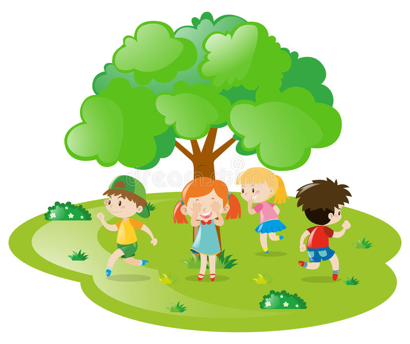 Τα παιδιά που παίζουν τη δορά - και - επιδιώκουν στο πάρκο ελεύθερη απεικόνιση δικαιώματος