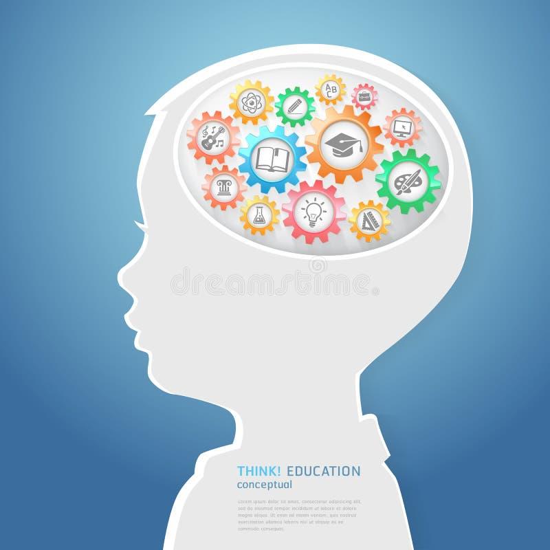 Τα παιδιά σκέφτονται με τα εικονίδια εκπαίδευσης διανυσματική απεικόνιση