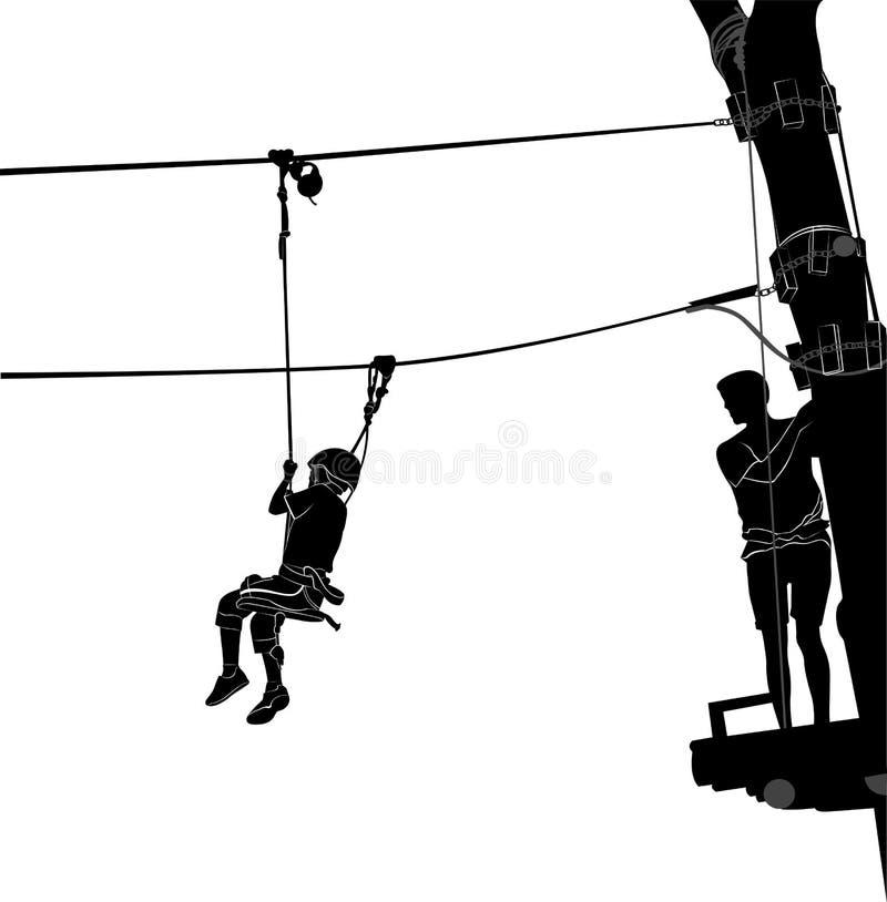 Τα παιδιά στην περιπέτεια σταθμεύουν τη σκάλα σχοινιών ελεύθερη απεικόνιση δικαιώματος