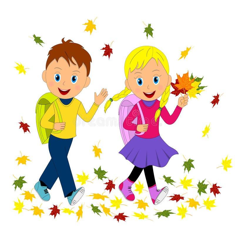 Τα παιδιά, το αγόρι και το κορίτσι πηγαίνουν στο σχολείο το φθινόπωρο ελεύθερη απεικόνιση δικαιώματος