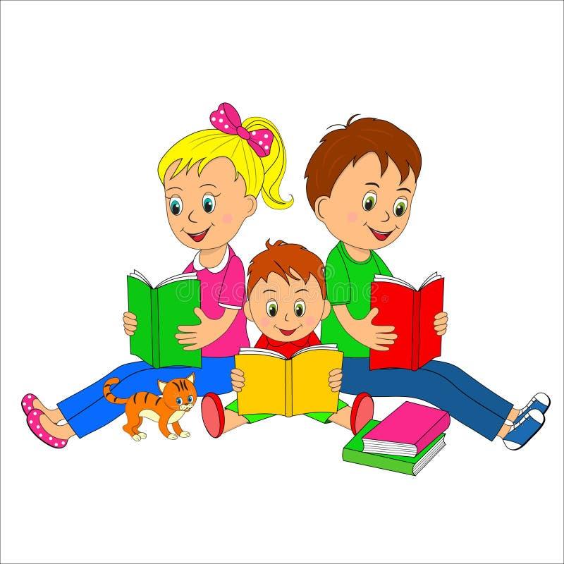 Τα παιδιά, το κορίτσι και τα αγόρια διαβάζουν το βιβλίο απεικόνιση αποθεμάτων