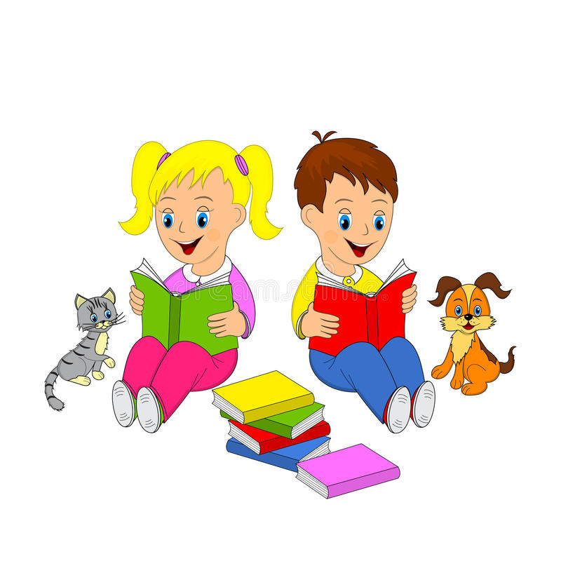 Τα παιδιά, το κορίτσι και το αγόρι διαβάζουν το βιβλίο διανυσματική απεικόνιση
