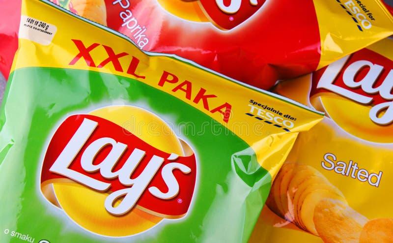 Τα πακέτα βάζουν τα τσιπ πατατών στοκ εικόνες με δικαίωμα ελεύθερης χρήσης