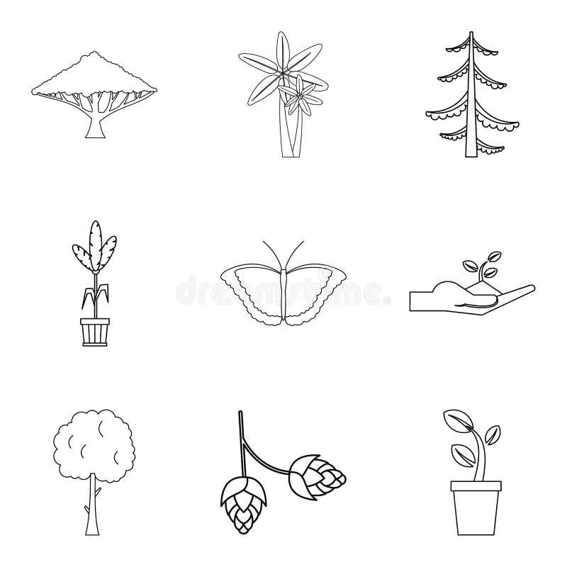 Τα περιβαλλοντικά εικονίδια ζώνης καθορισμένα, περιγράφουν το ύφος ελεύθερη απεικόνιση δικαιώματος
