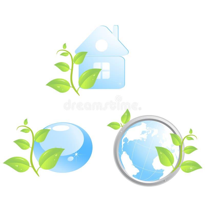 τα περιβαλλοντικά εικονίδια θέτουν τρία απεικόνιση αποθεμάτων