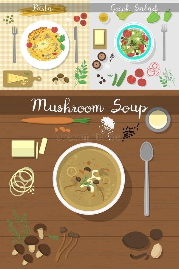 Τα πιάτα πιάτων σούπας στην επιτραπέζια κορυφή βλέπουν τη διανυσματική έννοια γεύματος μεσημεριανού γεύματος σούπας προγευμάτων κ απεικόνιση αποθεμάτων