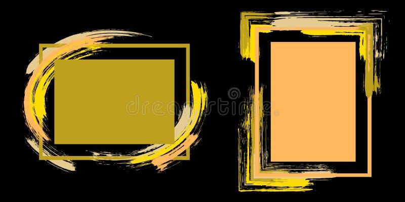 Τα πλαίσια με το χρώμα βουρτσίζουν το διανυσματικό σύνολο κτυπημάτων διανυσματική απεικόνιση