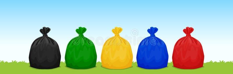 Τα πλαστικά απόβλητα τοποθετούν μαύρος σε σάκκο, πράσινος, κίτρινος, μπλε και κόκκινος στο υπόβαθρο χλόης και ουρανού, σύνολο χρω διανυσματική απεικόνιση