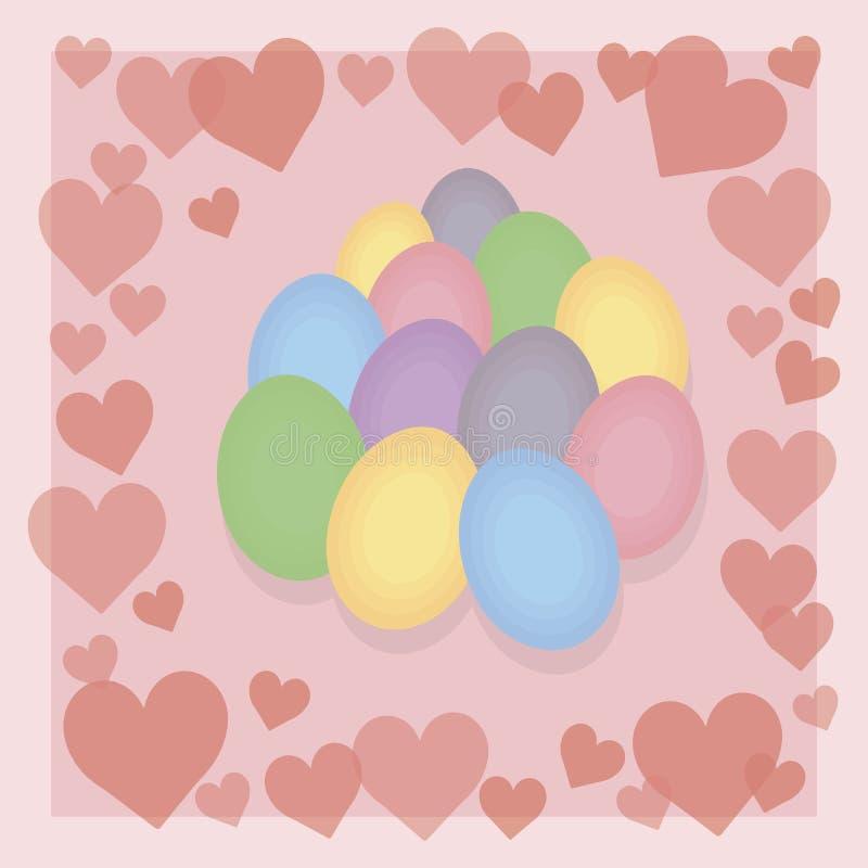Τα πολύχρωμα φωτεινά αυγά Πάσχας με τις κόκκινες μικρές καρδιές σε μια λεπτή κρητιδογραφία οδοντώνουν τη διανυσματική κάρτα υποβά απεικόνιση αποθεμάτων