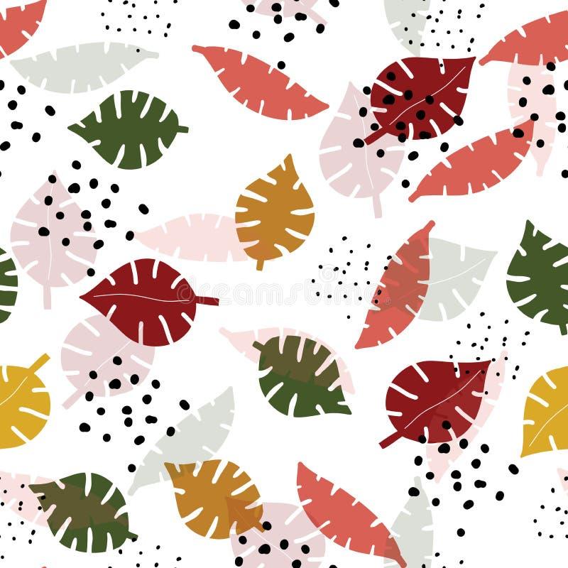 Τα πολύχρωμα φύλλα monstera δίνουν το συρμένο άνευ ραφής σχέδιο διανυσματική απεικόνιση