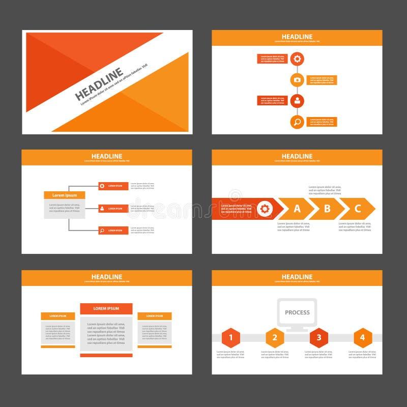 Τα πορτοκαλιά για πολλές χρήσεις στοιχεία Infographic και το επίπεδο σχέδιο προτύπων παρουσίασης εικονιδίων θέτουν για τη διαφήμι διανυσματική απεικόνιση