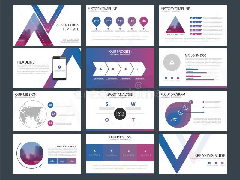 Τα πορφυρά μπλε πρότυπα παρουσίασης τριγώνων, επίπεδο σχέδιο προτύπων στοιχείων Infographic θέτουν για το ιπτάμενο φυλλάδιων ετήσ ελεύθερη απεικόνιση δικαιώματος