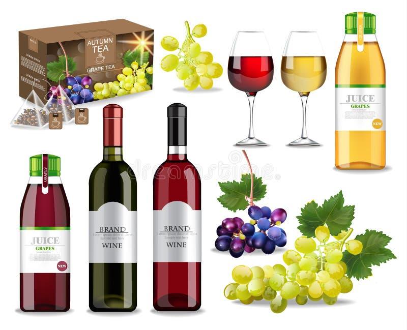 Τα ποτά σταφυλιών καθορισμένα τη συλλογή με το διάνυσμα κρασιού, χυμού και τσαγιού ρεαλιστικό Χλεύη συσκευασίας προϊόντων επάνω Σ διανυσματική απεικόνιση